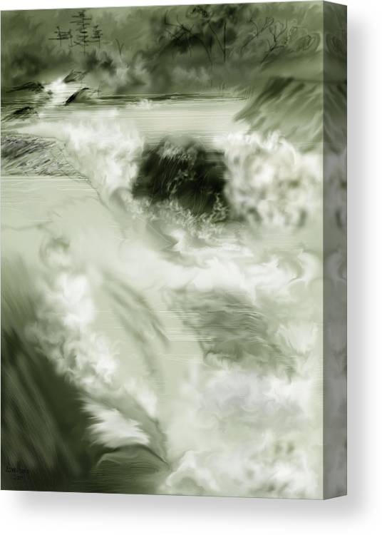 White Water Landscape Canvas Print featuring the painting Cherry Creek White Water by Anne Norskog