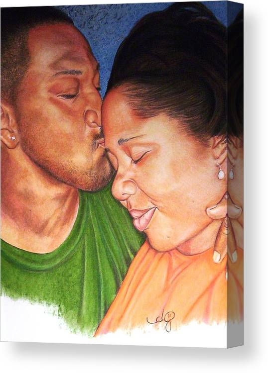 Angela Mustin Canvas Print featuring the pastel Heartofaman by Angela Mustin