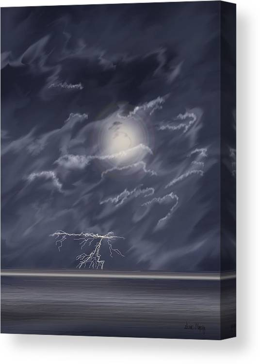 Lightning Storm Canvas Print featuring the painting In The Heat Of The Night by Anne Norskog