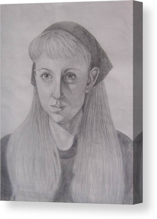 Artist Canvas Print featuring the drawing Pencil Self Portrait by Emily Young
