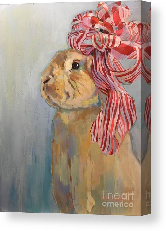 Bunny Canvas Print featuring the painting Peppermint by Kimberly Santini