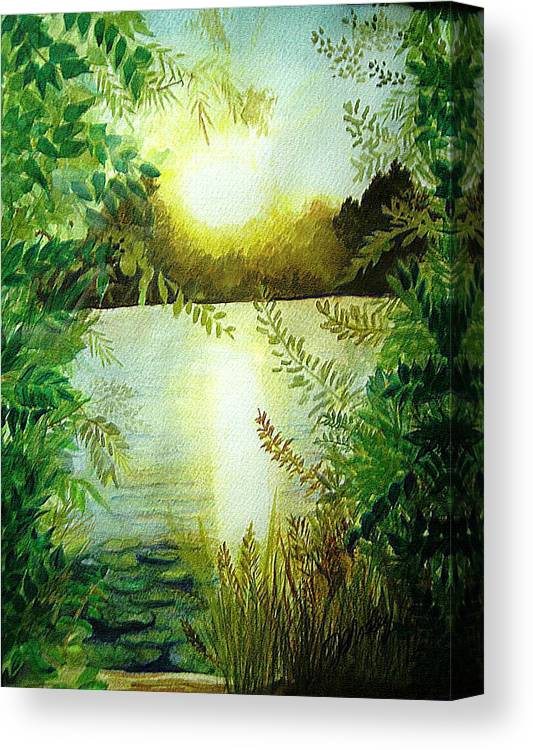 Landscape Canvas Print featuring the painting Sunset At Mill Lake by Vi Mosley