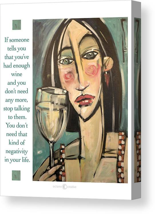 Wine Canvas Print featuring the painting Wine Negativity Poster by Tim Nyberg