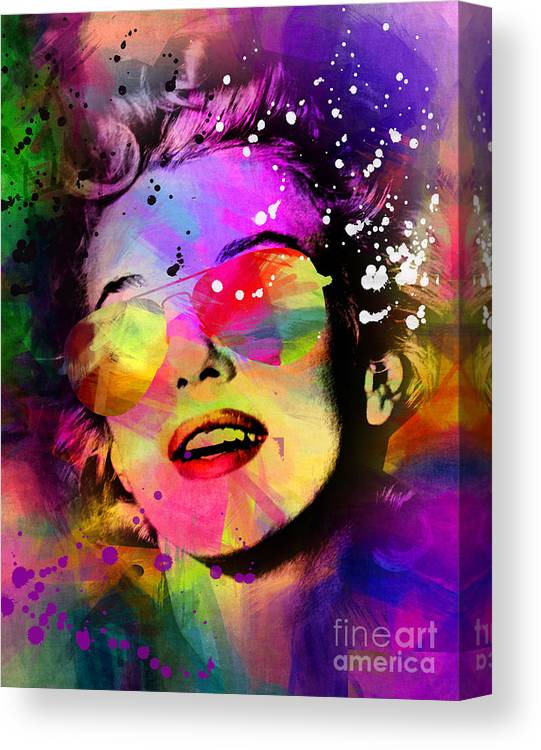Pop Art Canvas Print featuring the painting Marilyn Monroe by Mark Ashkenazi