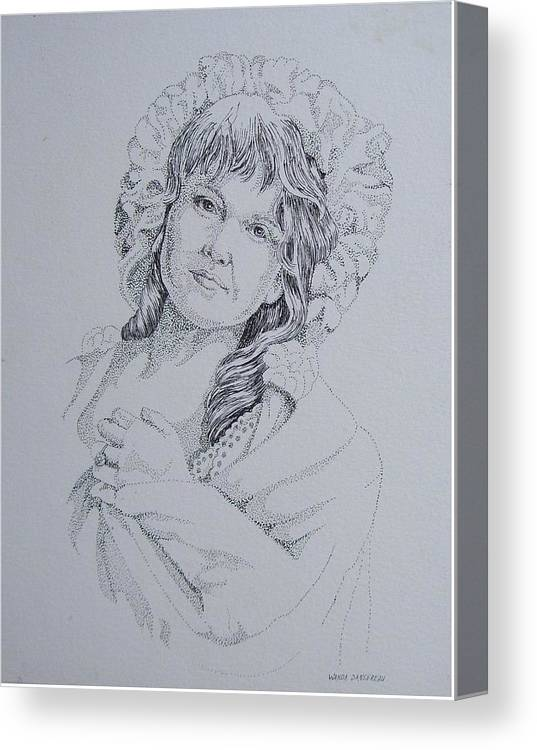 A Historic Piece Using The Pointillist Style Canvas Print featuring the drawing 1910 Lady by Wanda Dansereau