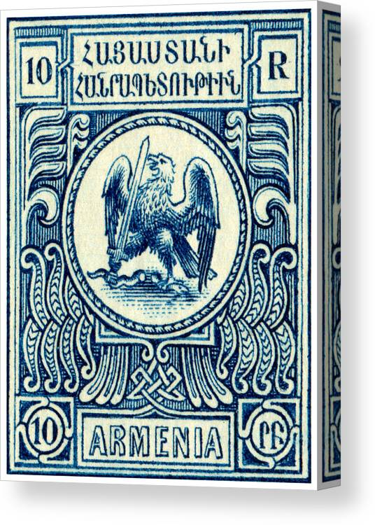 Armenia Canvas Print Featuring The Painting 1920 Armenian Eagle Stamp By Historic Image