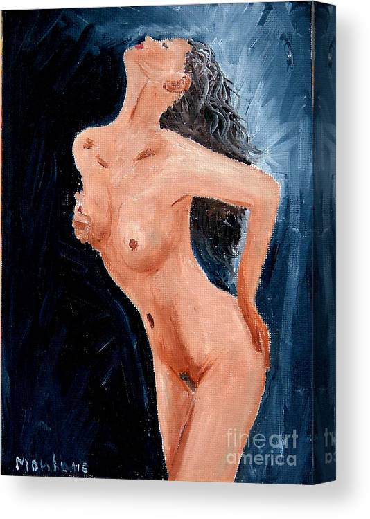 Women Canvas Print featuring the painting Girl Nude by Inna Montano