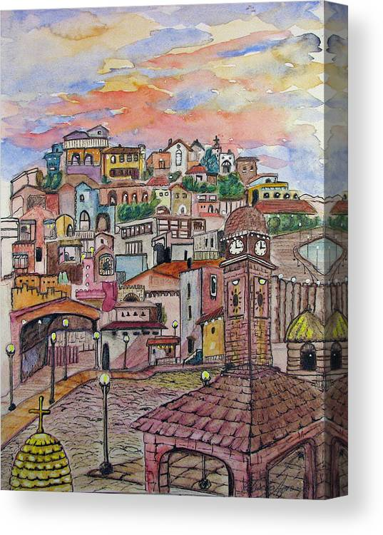 Townscape Canvas Print featuring the painting A Little Town In France by Patricia Arroyo