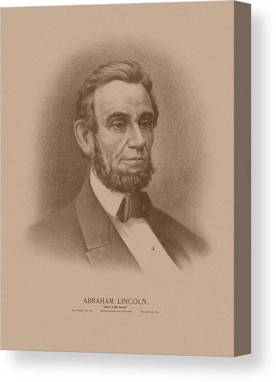 Abraham Lincoln Canvas Print featuring the drawing Abraham Lincoln - Savior Of His Country by War Is Hell Store