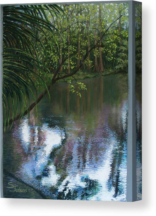 Landscape Canvas Print featuring the painting Alafia River Reflection by Susan Jenkins