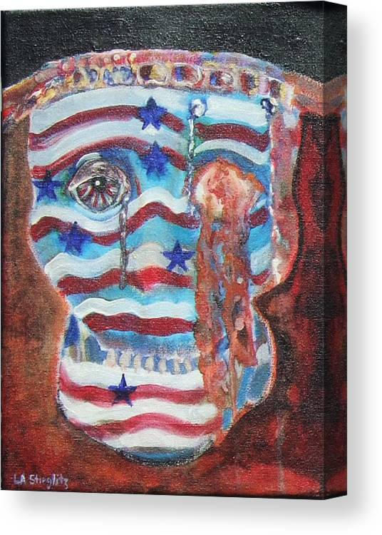U.s. Flag Canvas Print featuring the painting America Under Fire by Lee Anne Stieglitz