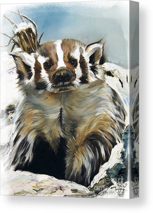Southwest Art Canvas Print featuring the painting Badger - Guardian Of The South by J W Baker