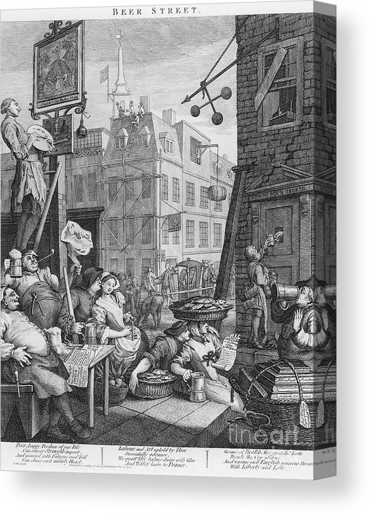 Satire Canvas Print featuring the drawing Beer Street, 1751 by William Hogarth