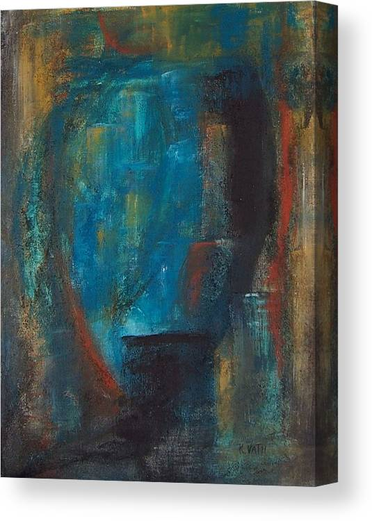Abstract Canvas Print featuring the painting Blue Grotto by Karen Day-Vath