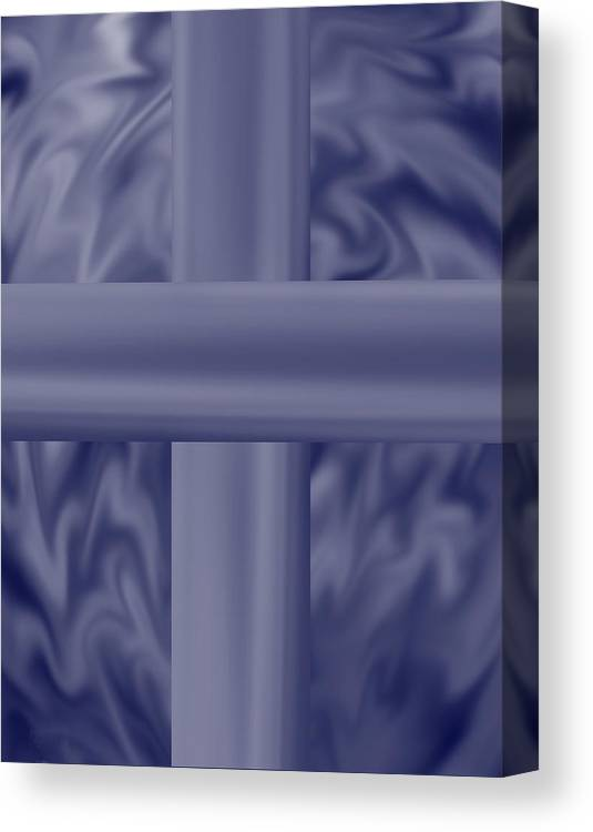 Blue Canvas Print featuring the painting Blue Satin Cross by Anne Norskog