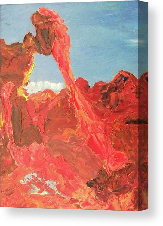 Sky Canvas Print featuring the painting Blue Sky And Orange Rocks by Suzanne Marie Leclair