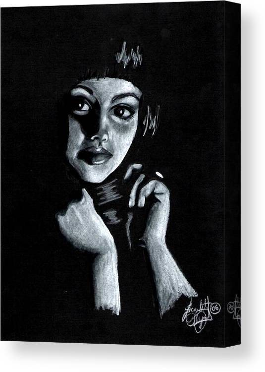 Portrait Canvas Print featuring the drawing Curiosity by Scarlett Royal