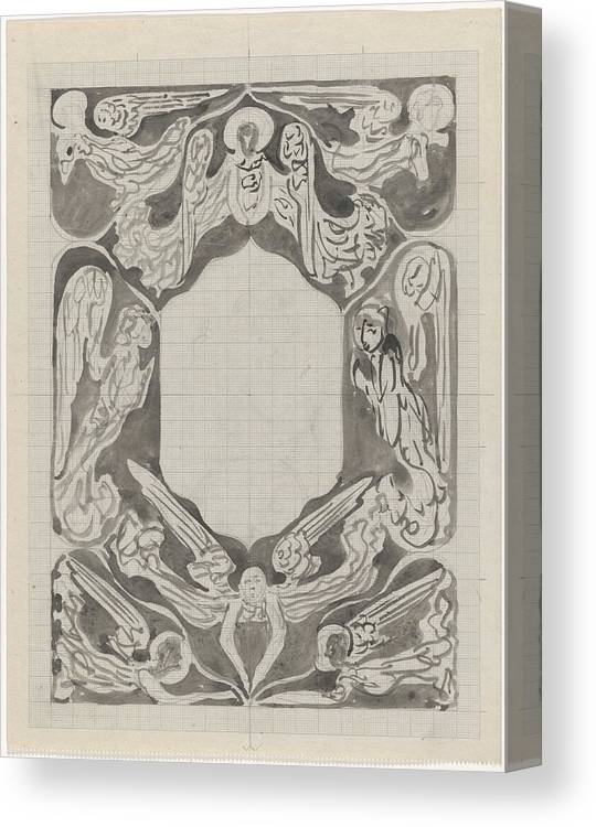 Pattern Canvas Print featuring the painting Decorative Design With Angels, Carel Adolph Lion Cachet, 1874 - 1945 by Carel Adolph Lion Cachet