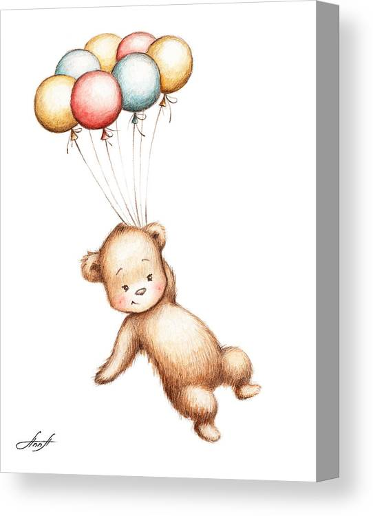 Drawing Of Teddy Bear Flying With Balloons Canvas Print