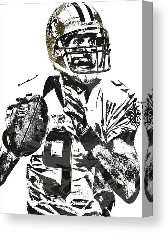 947804511 Drew Brees Canvas Print featuring the mixed media Drew Brees New Orleans  Saints Pixel Art 1