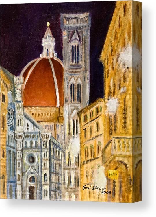 Duomo Canvas Print featuring the painting Duomo At Night by Joni Dipirro