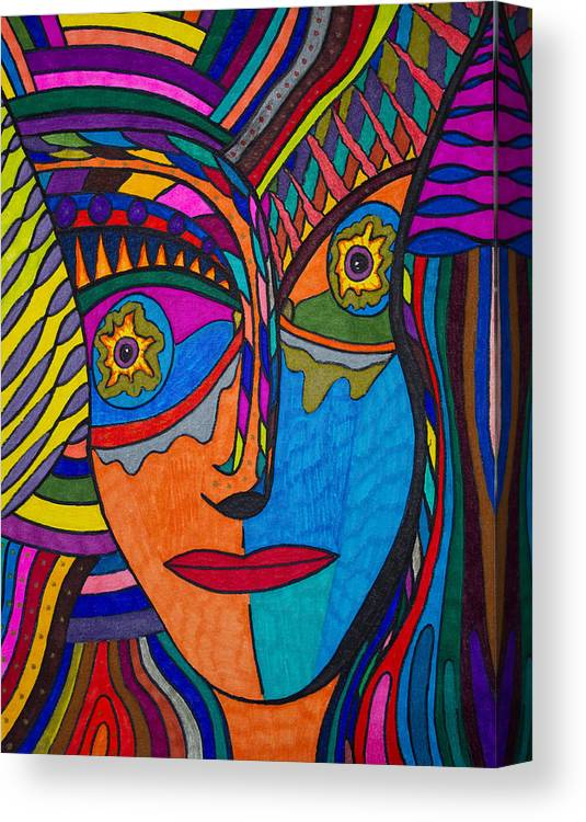 Earth And Aqua Mask Canvas Print featuring the painting Earth And Aqua Mask - Abstract Face by Marie Jamieson