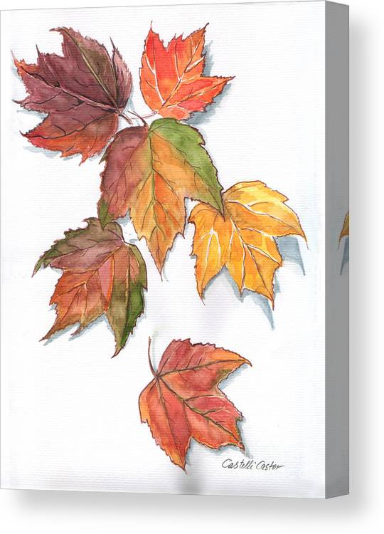 Leaves Canvas Print featuring the painting Falling Leaves by JoAnne Castelli-Castor