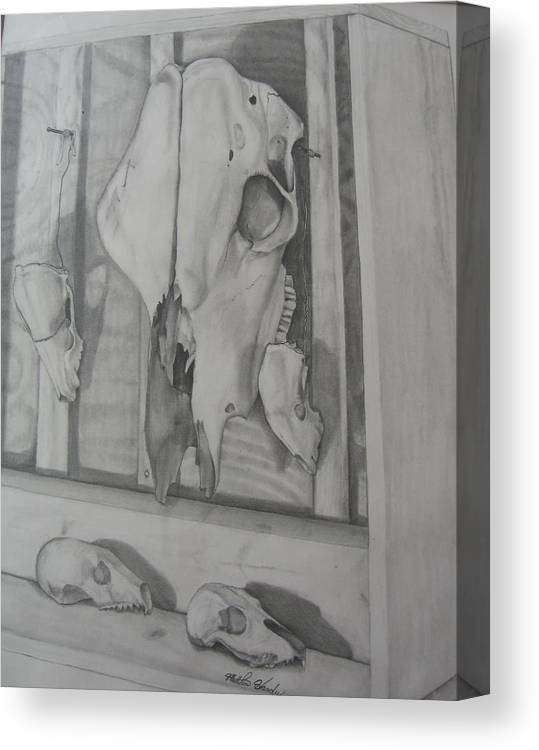Skeietons Canvas Print featuring the drawing Farm Boxed Skeletons by Matthew Handy