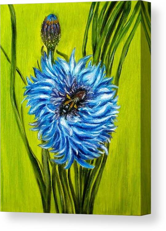 Flower Canvas Print featuring the painting Flower And Bee Oil Painting by Natalja Picugina