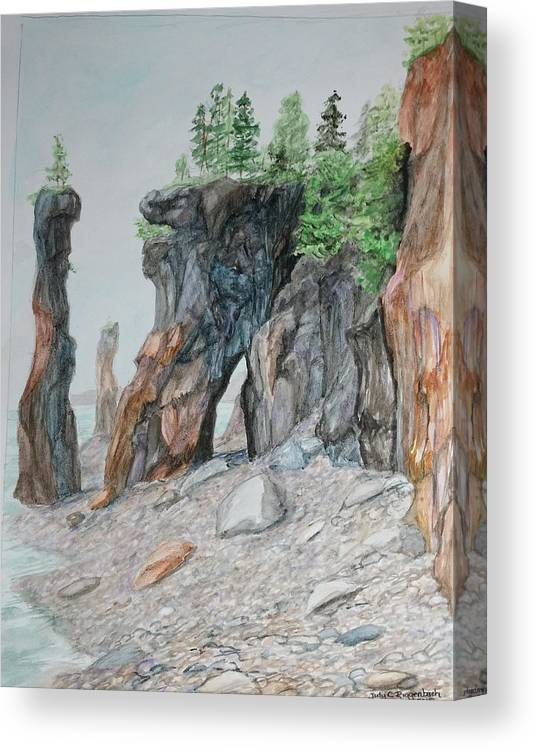 Cliffside Canvas Print featuring the painting Flower Pots by Judy Riggenbach