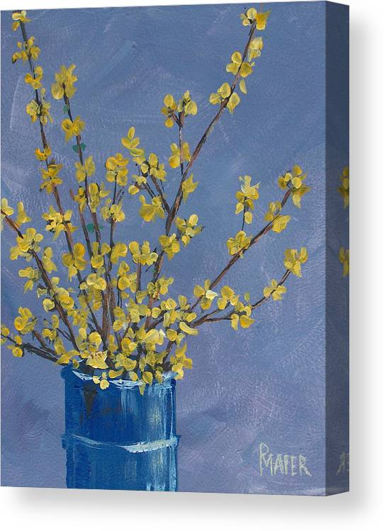 Flowers Canvas Print featuring the painting Forsythia by Pete Maier