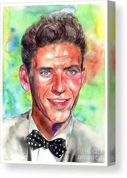 Frank Canvas Print featuring the painting Frank Sinatra Young Painting by Suzann Sines