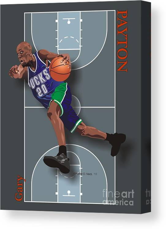 Portraits Canvas Print featuring the digital art Gary Payton by Walter Oliver Neal
