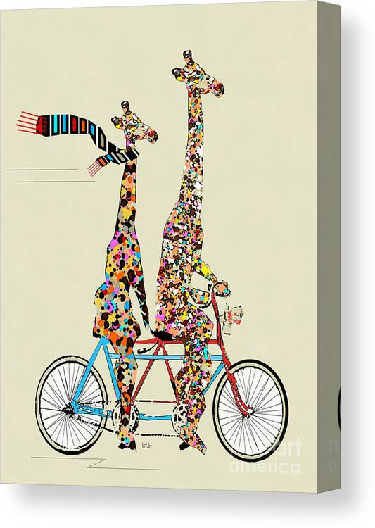 Giraffes Canvas Print featuring the painting Giraffe Days Lets Tandem by Bri Buckley