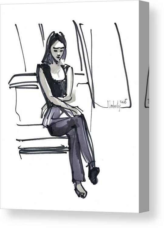 Marker Canvas Print featuring the drawing Girl Near The Window by Natoly Art