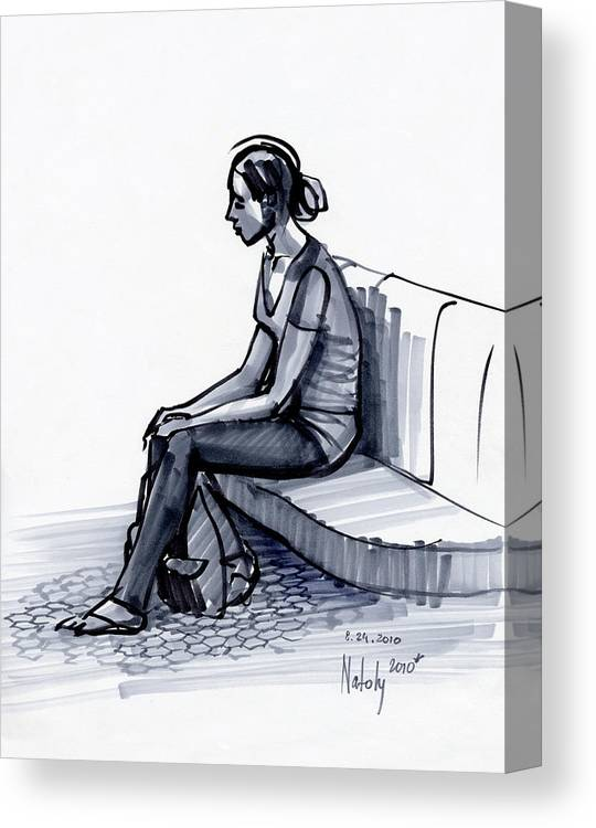 Marker Canvas Print featuring the drawing Girl On A Metro Station by Natoly Art