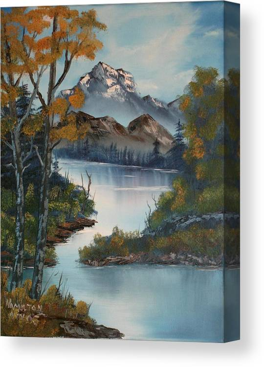 Oil Painting Canvas Print featuring the painting Grand Mountain by Larry Hamilton