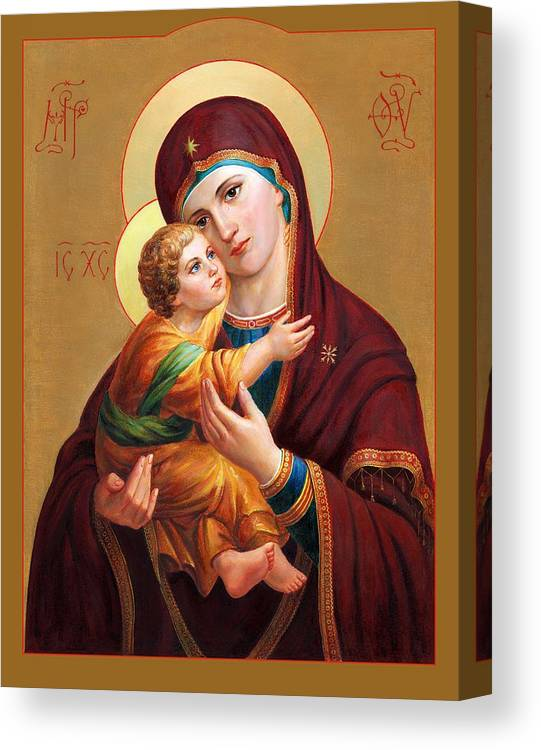 Altar Canvas Print featuring the painting Holy Mother Of God - Blessed Virgin Mary by Svitozar Nenyuk
