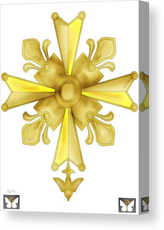 Christian Cross Canvas Print featuring the painting Huguenot Golden Cross by Anne Norskog