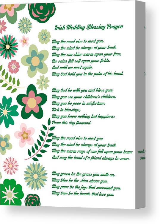 Irish Wedding Blessing Prayer Canvas Print Canvas Art By Celestial