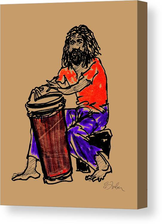 Jamaica Jamaican Drummer Drum Canvas Print featuring the digital art Jamaican Drummer by Edward Farber