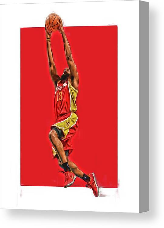 e9a47efc5d15 James Harden Canvas Print featuring the mixed media James Harden Houston  Rockets Oil Art by Joe. Wall View 001