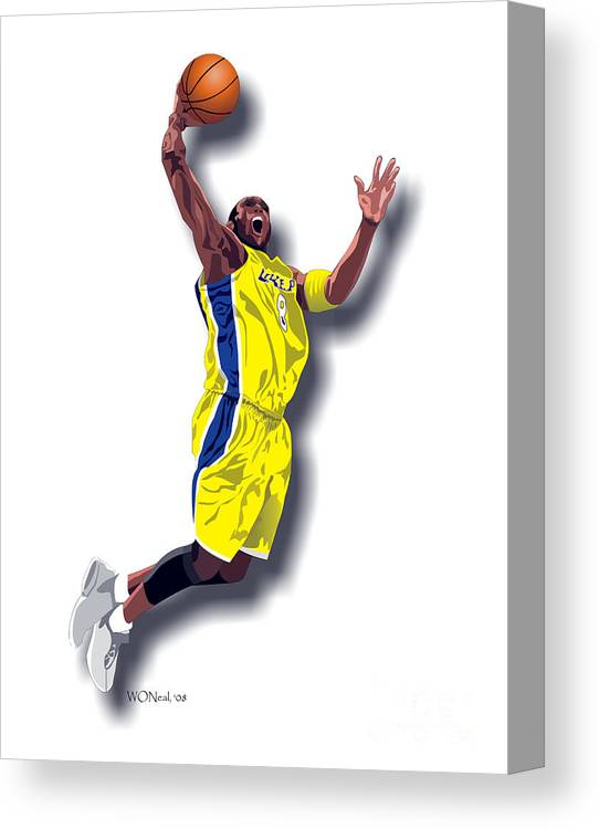 Male Portraits Canvas Print featuring the digital art Kobe Bryant 8 by Walter Oliver Neal