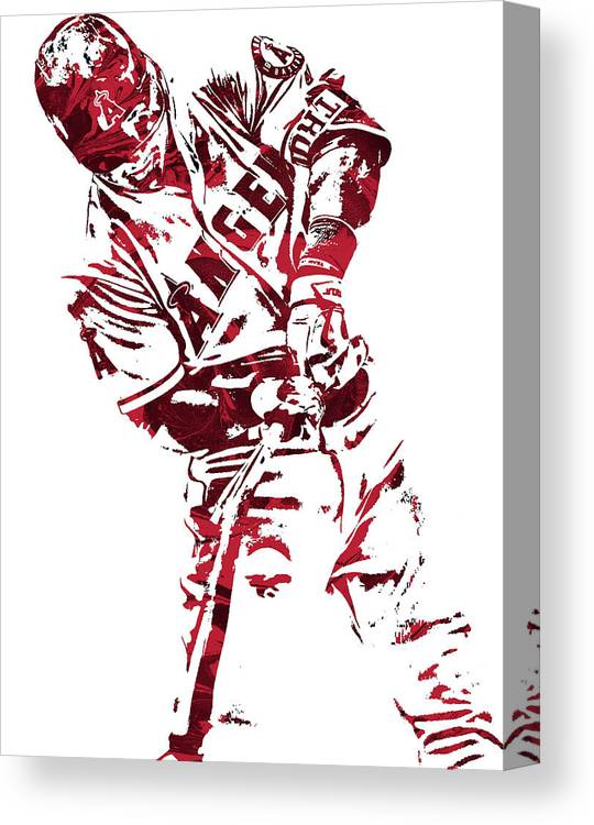 Mike Trout Los Angeles Angels Pixel Art 5 Canvas Print