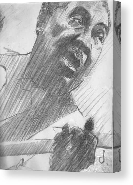 Drawing Canvas Print featuring the drawing Mojo Man by Michael Facey