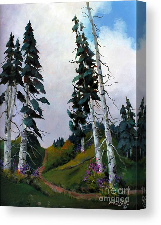Mountains Canvas Print featuring the painting Mt. Rainier 3 by Marta Styk