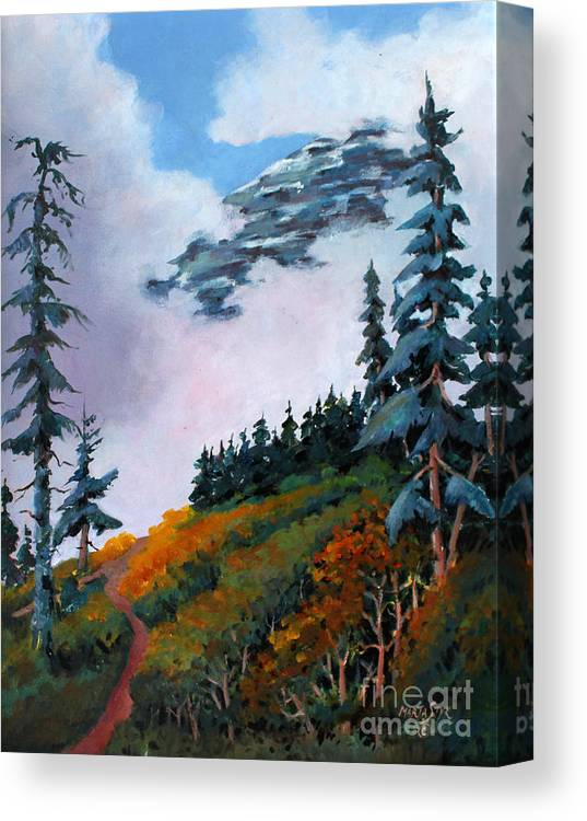 Landscape Canvas Print featuring the painting Mt. Rainier 4 by Marta Styk