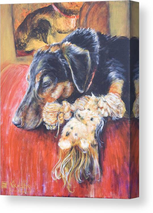 Dog Canvas Print featuring the painting Murphy Viii by Nik Helbig
