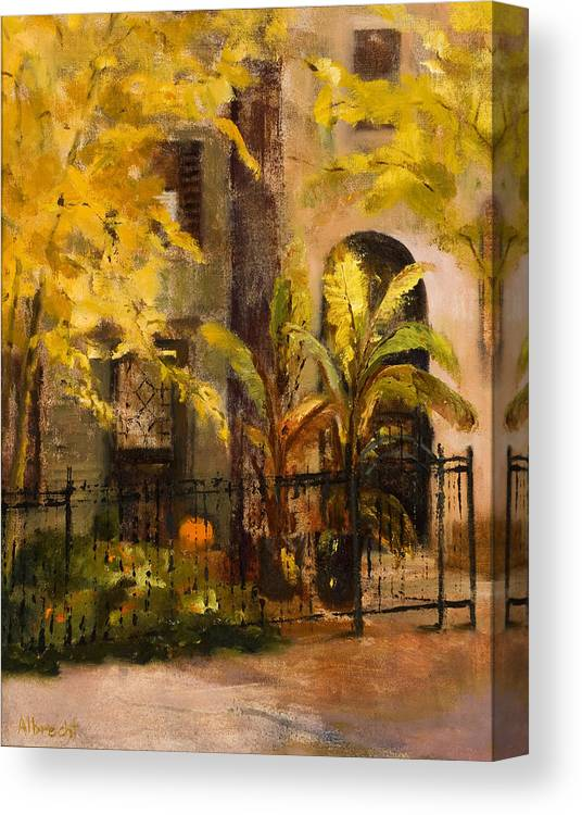 Autumn Garden Canvas Print featuring the painting On Orleans In Old Town by Nancy Albrecht