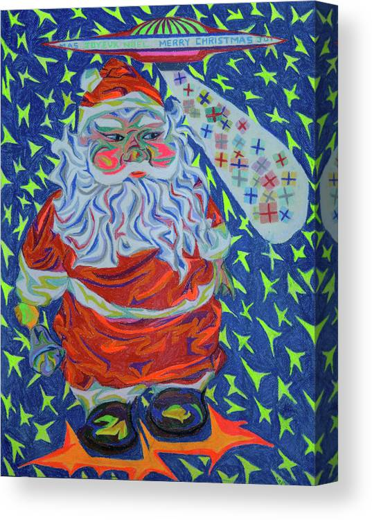 Christmas Canvas Print featuring the painting Papa Noel Des Etoilles by Robert SORENSEN